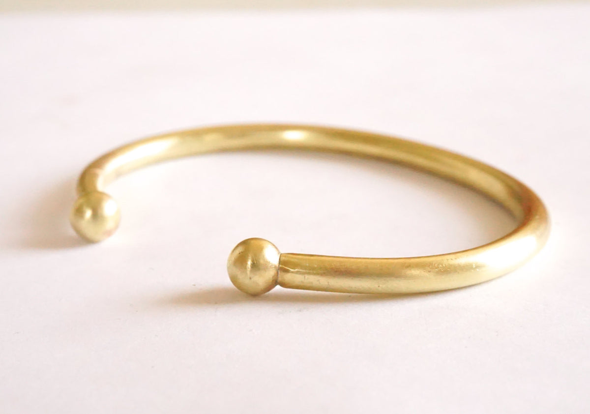 Classic Gold Colored Adjustable Brass or Sterling Silver Torque Cuff Bracelet With Solid Ball Ends - 0198 - Virginia Wynne Designs