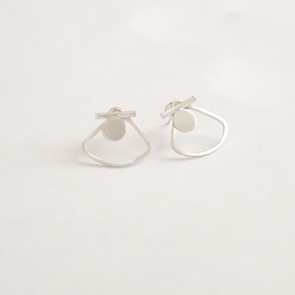 Modern Hand-Made Half Circle Ear Jacket w/ Solid Bar & Flat Circle Designer Stud Earrings - 0223 - Virginia Wynne Designs