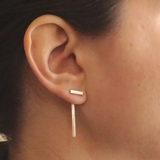 Hand-Made, Elegant Minimalist Ear Jacket in Brass, Sterling Silver or Silver Oxidized - 0202 - Virginia Wynne Designs