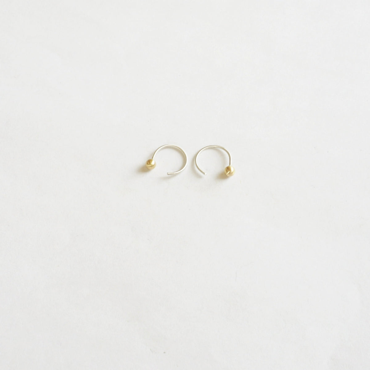 Distinctive Hand-Made Tiny Ear Hugging Sterling Silver Hoops With Ball On End - 0209 - Virginia Wynne Designs
