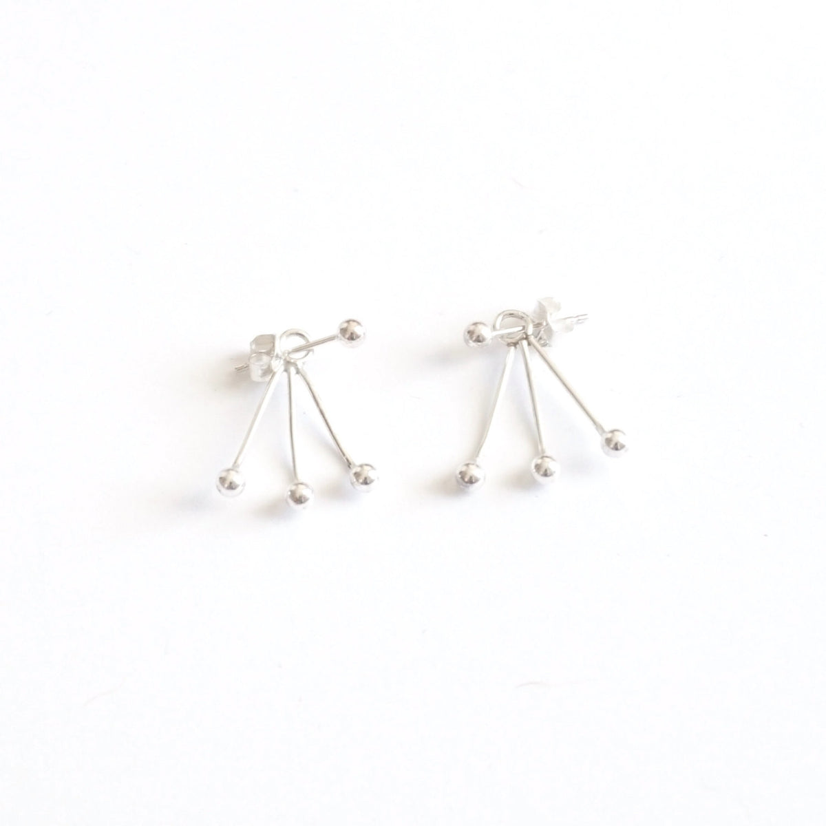 Chic and Unique - Hand-Crafted, Distinctive Triple Ball Ear Jacket Earrings - 0217 - Virginia Wynne Designs
