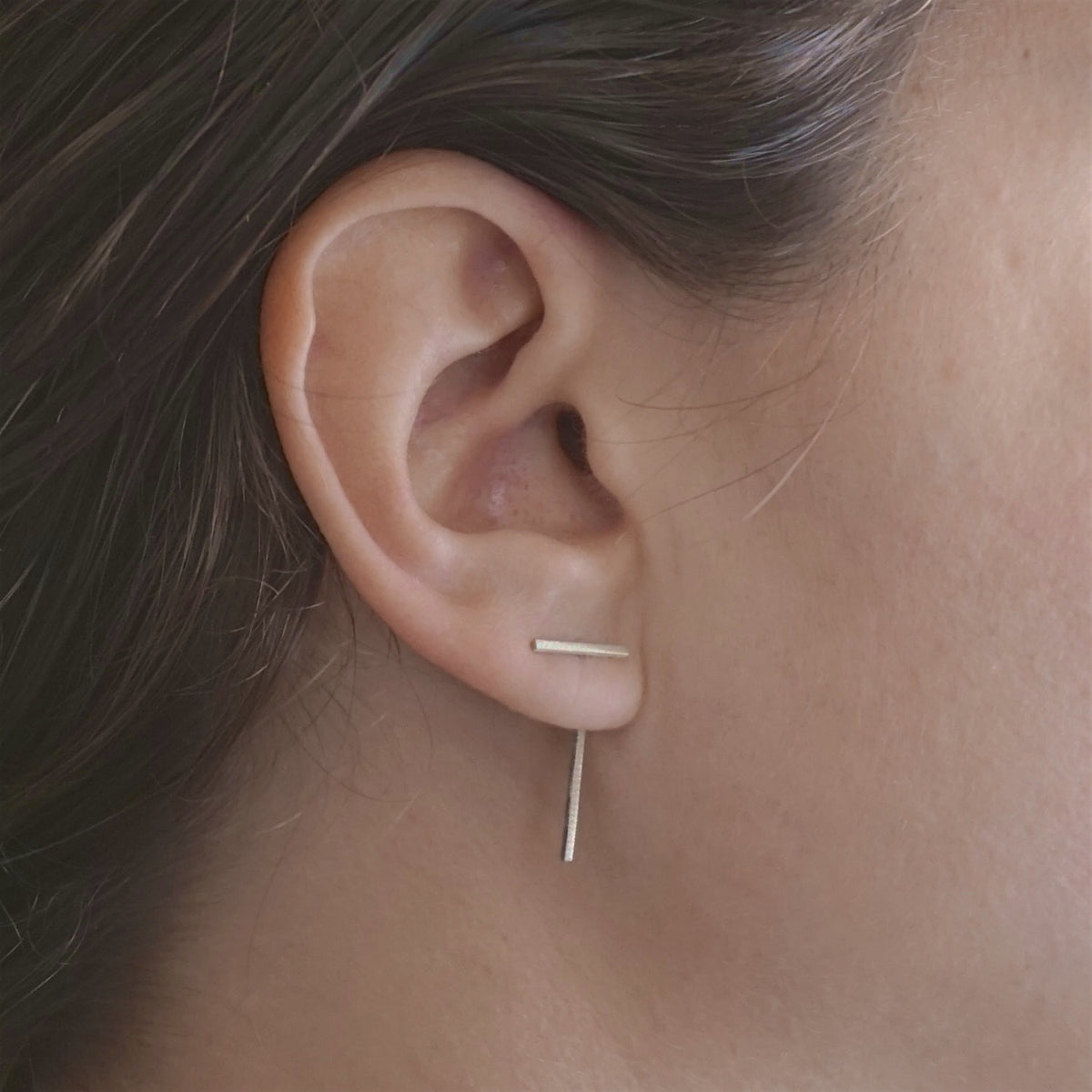 Distinctive Hand-Made Offset Staple Line Ear Jacket Stud Earrings - 0234 - Virginia Wynne Designs