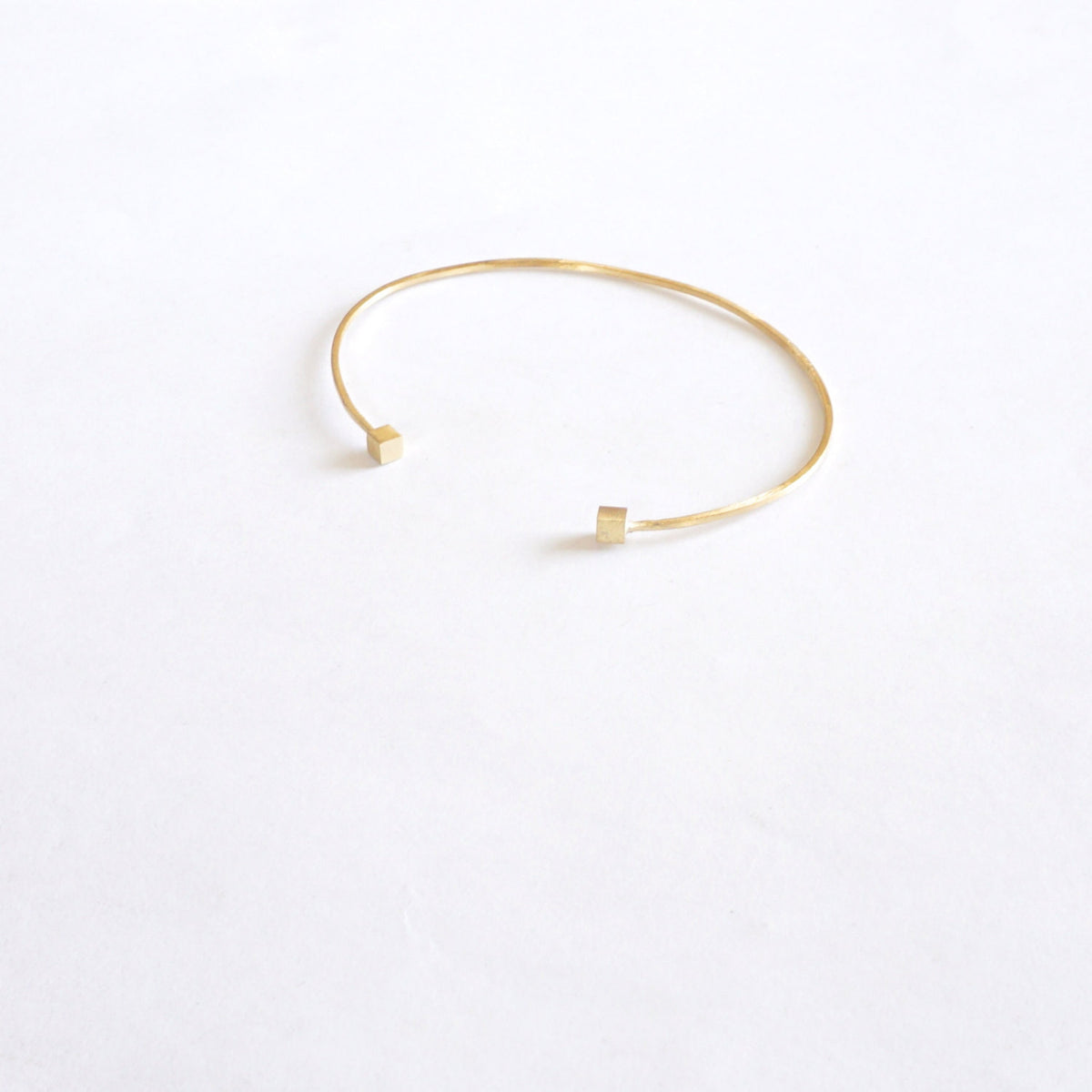 Simple Yet Elegant, Hand-Made Open Cuff Bangle Bracelet With Double Cube Ends in Gold Colored Brass or Sterling Silver - 0207 - Virginia Wynne Designs