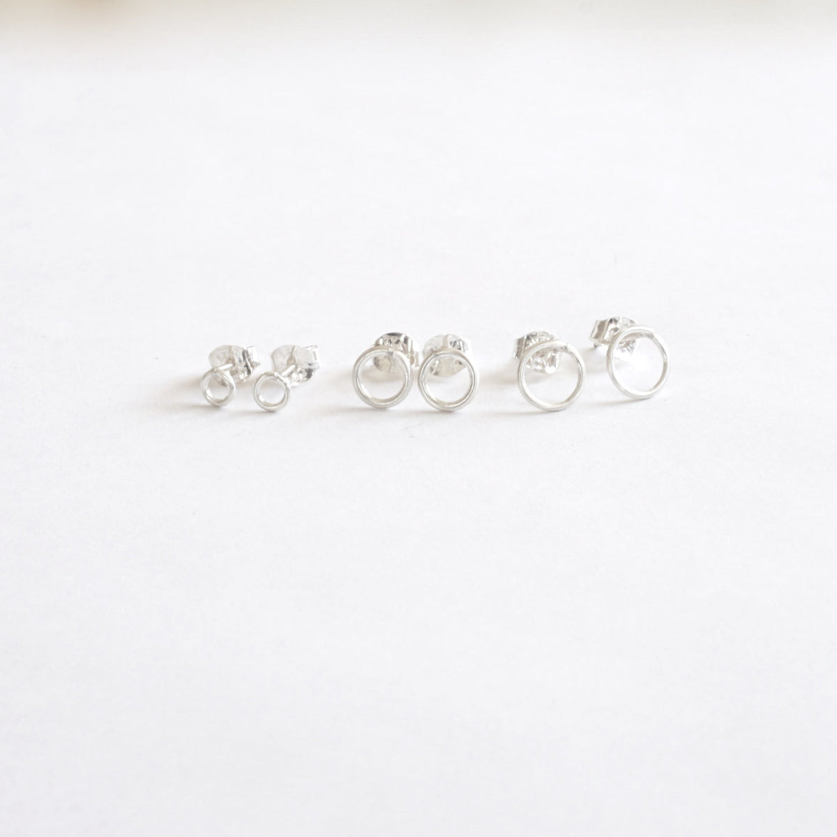 Classic and Stylish, Hand-Crafted Set of Three Small Open Circle Stud Earrings - 0208 - Virginia Wynne Designs
