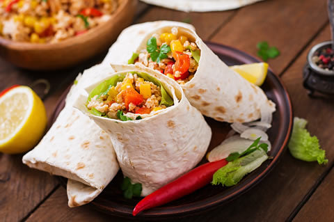 Fiesta grilled chicken wrap