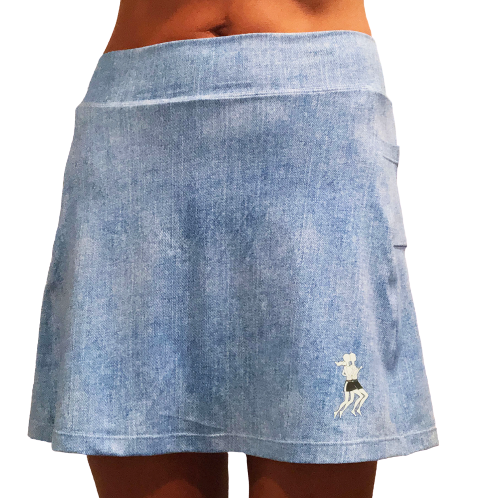 Faded Denim Athletic Skirt