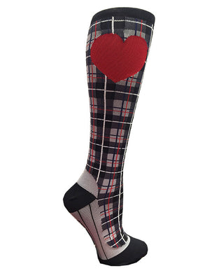 Black & Red Plaid RunLove Compression Socks