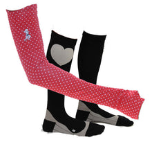 red dot sleeves & black compression socks