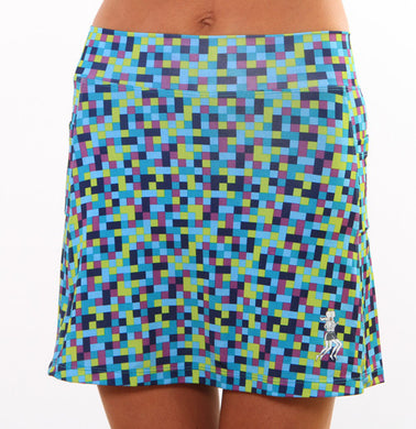 blue pixel athletic skirt