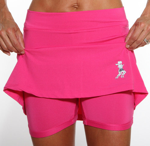 cerise golf skirt compression shorts