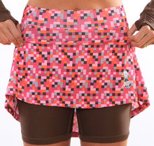 pink pixel athletic skirt chocolate compression shorts