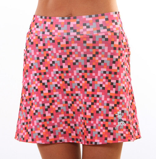pink pixel athletic skirt
