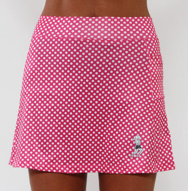 pink polka dot athletic skirt
