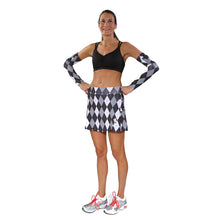 preppy black argyle athletic skirt black strappy top and argyle arm wamers