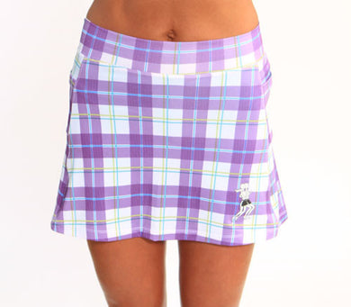 purple plaid athletic skirt