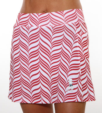 red candy stripe golf skirt
