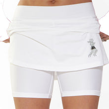 white athletic skirt compression shorts