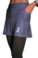 denim capri skirt side pocket
