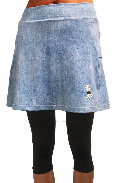 Faded Denim Capri Skirt (PREORDER SHIPS FALL 2020)