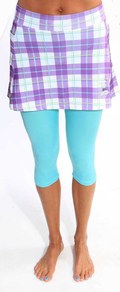 purple plaid capri skirt