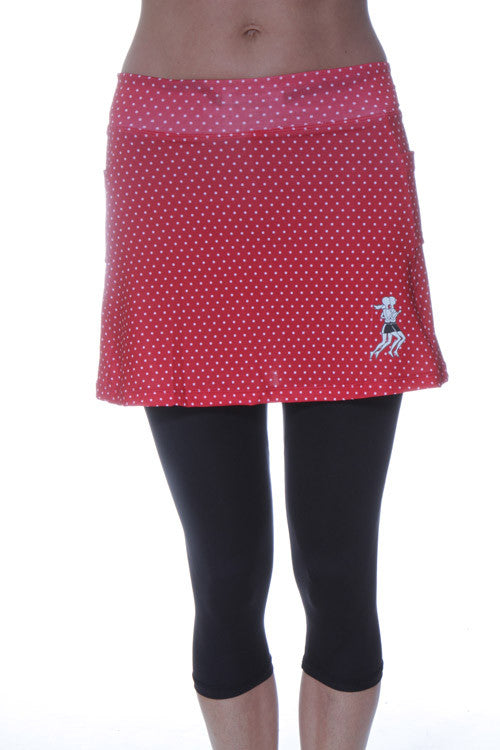 red polka dot capri skirt