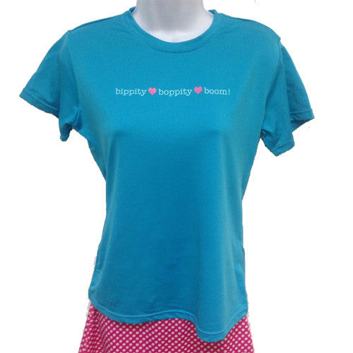 glow in the dark tee bippity boppity boom blue