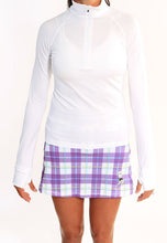 purple plaid skirt white half zip