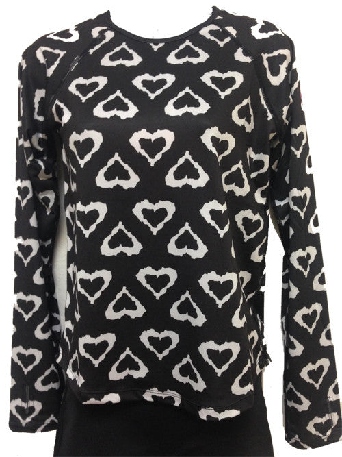black & white hearts runlove long sleeve