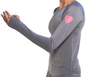 gray long sleeve reflective heart