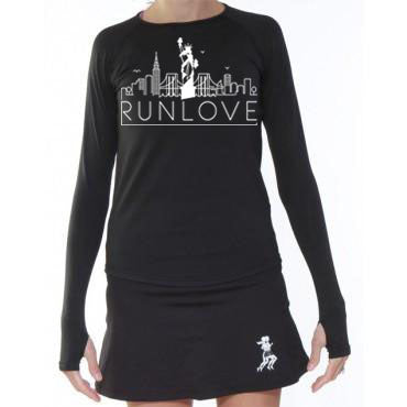 Black NYC Urban Run Love Long Sleeve Performance Top