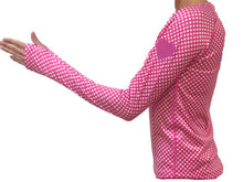 cerise dot pink reflective heart on sleeve