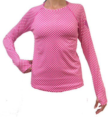 cerise dot performance long sleeve