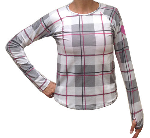 pink plaid long sleeve