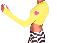 runlove long sleeve crop citron with reflective heart