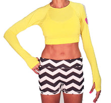 long sleeve crop citron with chevrun sport buns