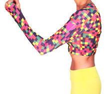 colorblock long sleeve crop top with reflective heart
