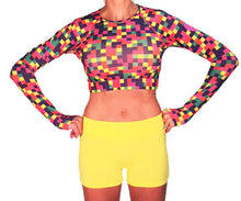 long sleeve crop colorblock with citron sport buns