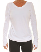 long sleeve vneck white