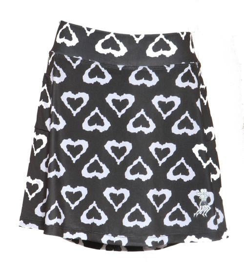 Black and White Hearts Mini Athletic Skirt (girls size 6-10)