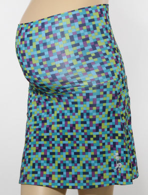 blue pixel maternity skirt