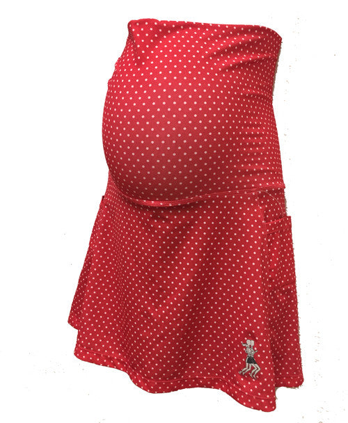 red dot maternity skirt