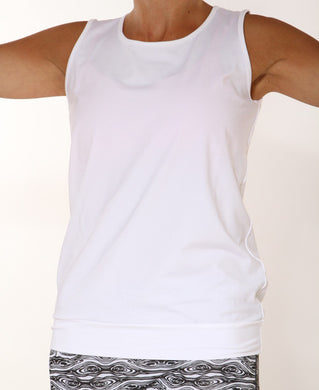 whtie limitless performance tank top