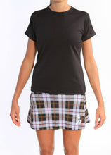 black tee plaid