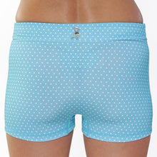 running bun hugger aqua and white polka dot