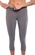gray running capri waistband pocket