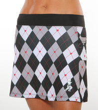black red argyle running skirt