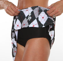 black red argyle skirt brief