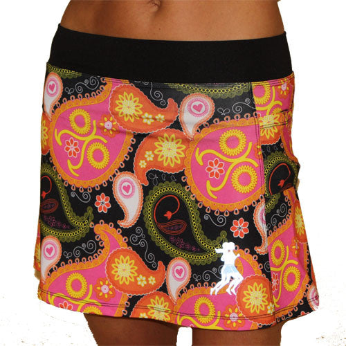 black paisley running skirt