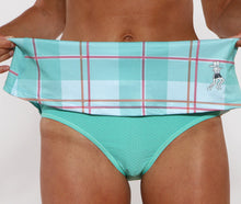 caribbean plaid running skirt brief