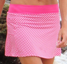 pink and white polka dot running skirt